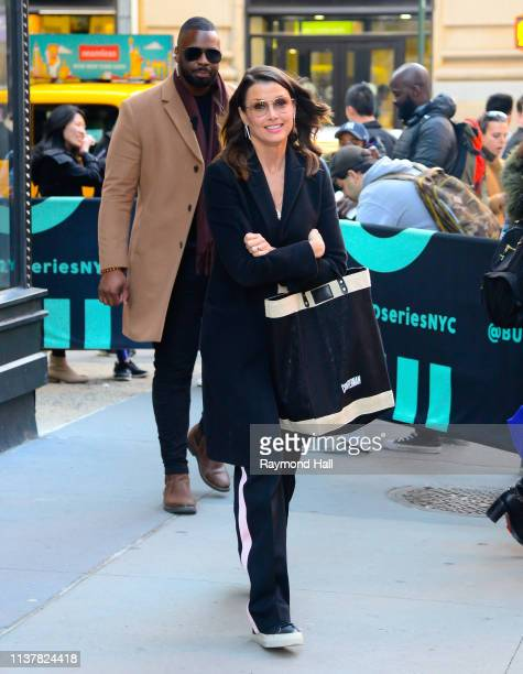 Actress Bridget Moynahan is seen outside aol build on April 17, 2019 in New York City.