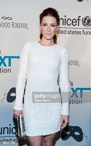 Actress Bridget Regan arrives at the UNICEF 1st Annual Masquerade Ball at The Masonic Lodge at Hollywood Forever on October 30 2013 in Los Angeles...