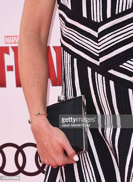 Actress Bridget Regan fashion detail arrives at the Los Angeles Premiere of Marvel Studios 'AntMan' at Dolby Theatre on June 29 2015 in Hollywood...