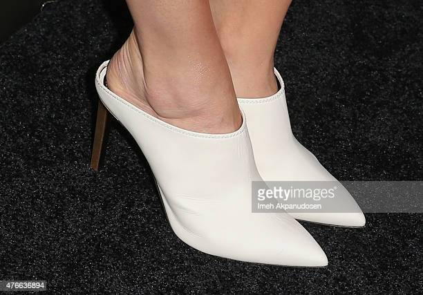 Actress Bridget Regan fashion detail attends Shoebox's 29th Birthday Celebration hosted by Rob Riggle at The Improv on June 10 2015 in Hollywood...