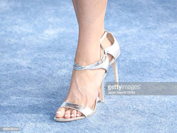 Actress Bridget Regan shoe detail attends The 2015 MTV Movie Awards at Nokia Theatre LA Live on April 12 2015 in Los Angeles California