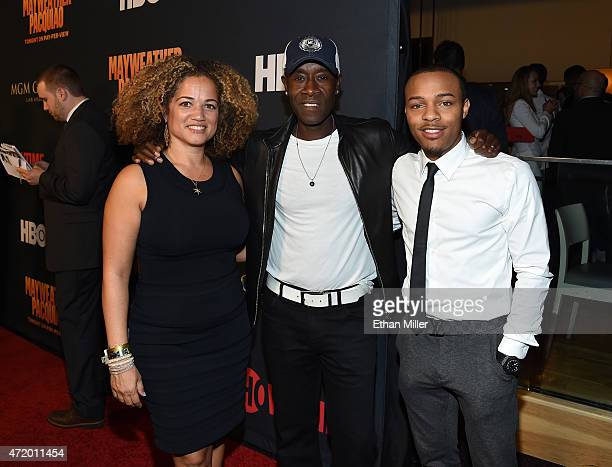 Actress Bridgid Coulter actor Don Cheadle and rapper Shad Bow Wow Moss attend the SHOWTIME And HBO VIP PreFight Party for Mayweather VS Pacquiao at...