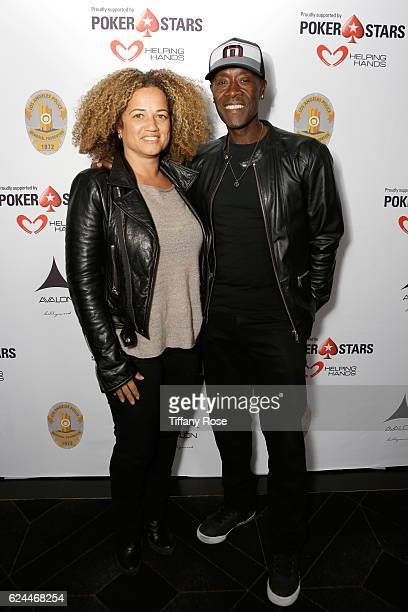 Actress Bridgid Coulter and actor Don Cheadle attend the Los Angeles Police Memorial Foundation celebrity poker tournament and party held at Avalon...