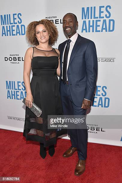 Actress Bridgid Coulter and director/actor Don Cheadle attend the premiere of Sony Pictures Classics' Miles Ahead at Writers Guild Theater on March...