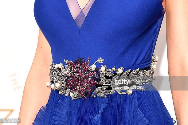 Actress Brie Larsen dress detail attends the 88th Annual Academy Awards at Hollywood Highland Center on February 28 2016 in Hollywood California