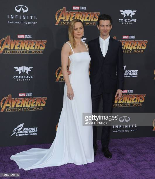 Actress Brie Larson and Alex Greenwald arrive for the Premiere Of Disney And Marvel's 'Avengers Infinity War' held on April 23 2018 in Los Angeles...