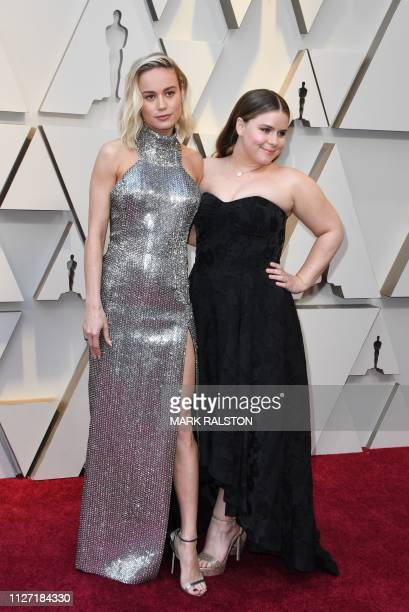 Actress Brie Larson and her sister Milaine Desaulniers arrive for the 91st Annual Academy Awards at the Dolby Theatre in Hollywood California on...