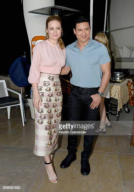 Actress Brie Larson and TV personality Mario Lopez attend the 88th Annual Academy Awards nominee luncheon on February 8 2016 in Beverly Hills...