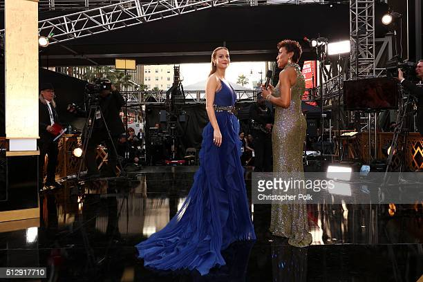 Actress Brie Larson and TV personality Robin Roberts attend the 88th Annual Academy Awards at Hollywood Highland Center on February 28 2016 in...