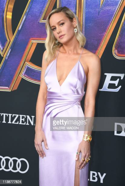 """Actress Brie Larson arrives for the World premiere of Marvel Studios' """"Avengers: Endgame"""" at the Los Angeles Convention Center on April 22, 2019 in..."""