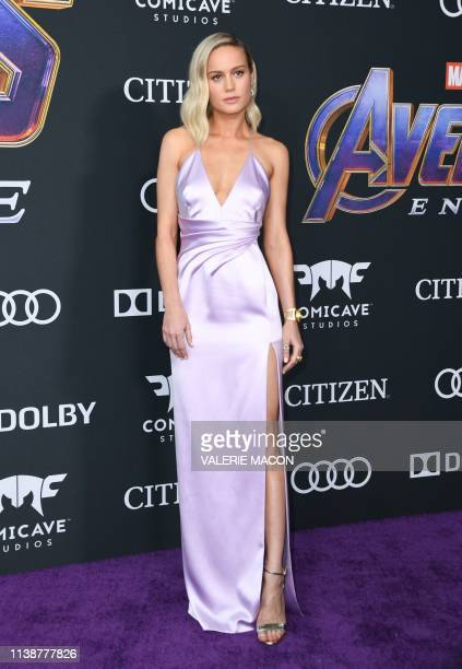 US actress Brie Larson arrives for the World premiere of Marvel Studios' Avengers Endgame at the Los Angeles Convention Center on April 22 2019 in...