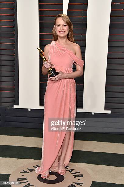 Actress Brie Larson attends the 2016 Vanity Fair Oscar Party hosted By Graydon Carter at Wallis Annenberg Center for the Performing Arts on February...