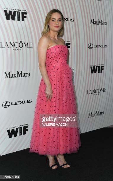 US actress Brie Larson attends the 2018 Women in Film Crystal Lucy Awards at the Beverly Hilton hotel in Beverly Hills on June 13 2018