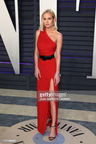 US actress Brie Larson attends the 2019 Vanity Fair Oscar Party following the 91st Academy Awards at The Wallis Annenberg Center for the Performing...