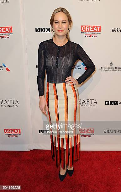 Actress Brie Larson attends the BAFTA Los Angeles Awards Season Tea at Four Seasons Hotel Los Angeles at Beverly Hills on January 9 2016 in Los...