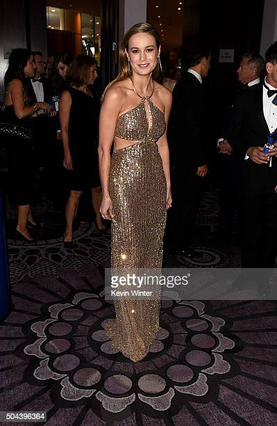 Actress Brie Larson attends the cocktail reception during the 73rd Annual Golden Globe Awards at The Beverly Hilton Hotel on January 10 2016 in...