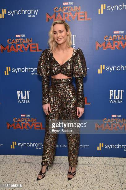 Actress Brie Larson attends the FIJI Water with the Cinema Society host a special screening of Captain Marvel on March 06 2019 in New York City