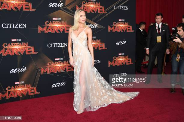 US actress Brie Larson attends the world premiere of Captain Marvel in Hollywood California on March 4 2019