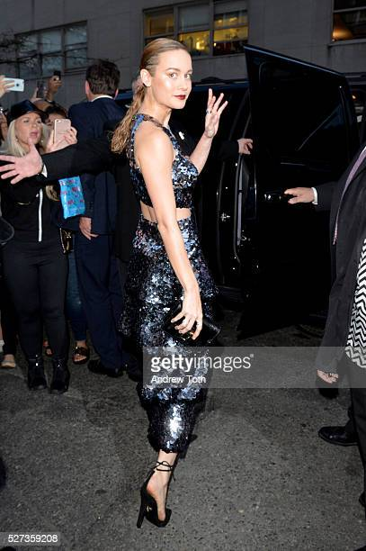 Actress Brie Larson leaves from The Mark Hotel for the 2016 'Manus x Machina Fashion in an Age of Technology' Met Gala on May 2 2016 in New York City