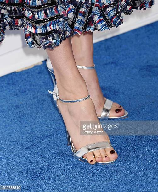 Actress Brie Larson, shoe detail, at the 2016 Film Independent Spirit Awards on February 27, 2016 in Santa Monica, California.