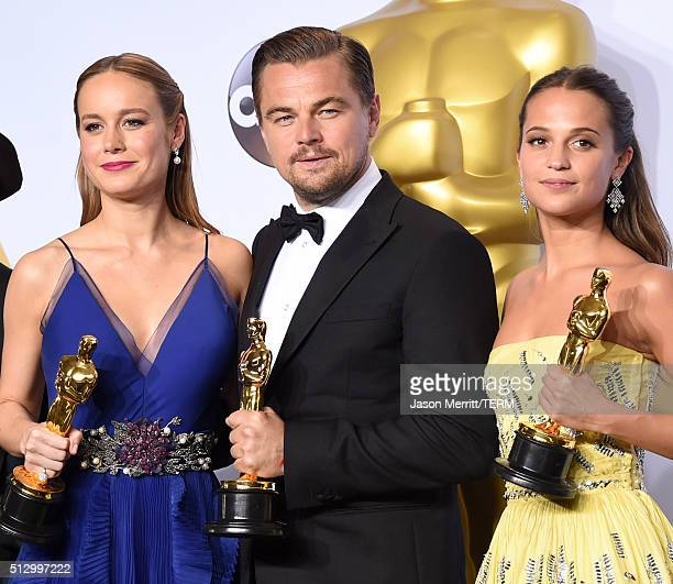 Actress Brie Larson winner of Best Actress for 'Room' actor Leonardo DiCaprio winner of Best Actor for 'The Revenant' and actress Alicia Vikander...