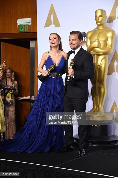Actress Brie Larson winner of Best Actress for 'Room' and actor Leonardo DiCaprio winner of Best Actor for 'The Revenant' pose in the press room...