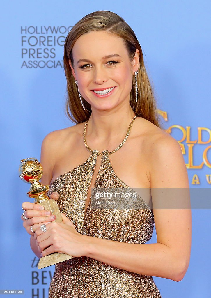 Actress Brie Larson, winner of Best Performance by an Actress in a Motion Picture - Drama for 'The Room,' poses in the press room during the 73rd Annual Golden Globe Awards held at the Beverly Hilton Hotel on January 10, 2016 in Beverly Hills, California.