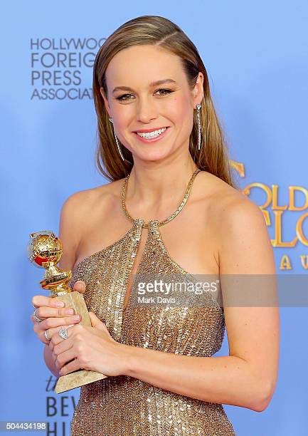 Actress Brie Larson winner of Best Performance by an Actress in a Motion Picture Drama for 'The Room' poses in the press room during the 73rd Annual...