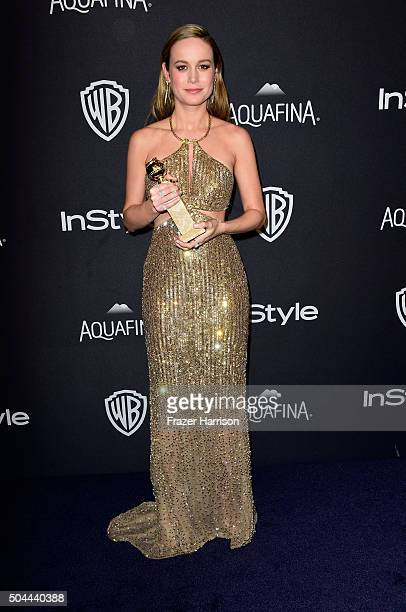 Actress Brie Larson winner of Best Performance in a Motion Picture Drama for 'Room' attends InStyle and Warner Bros 73rd Annual Golden Globe Awards...