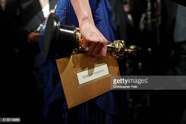 Actress Brie Larson winner of the Best Actress award for 'Room' attends the 88th Annual Academy Awards at Dolby Theatre on February 28 2016 in...