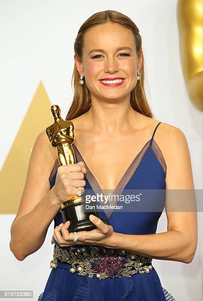 Actress Brie Larson winner of the Best Actress In A Leading Role award for Room poses in the press room at the 88th Annual Academy Awards at...
