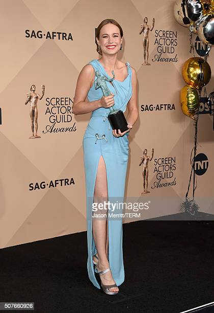 Actress Brie Larson winner of the Female Actor in a Leading Role award for 'Room' poses in the press room during The 22nd Annual Screen Actors Guild...