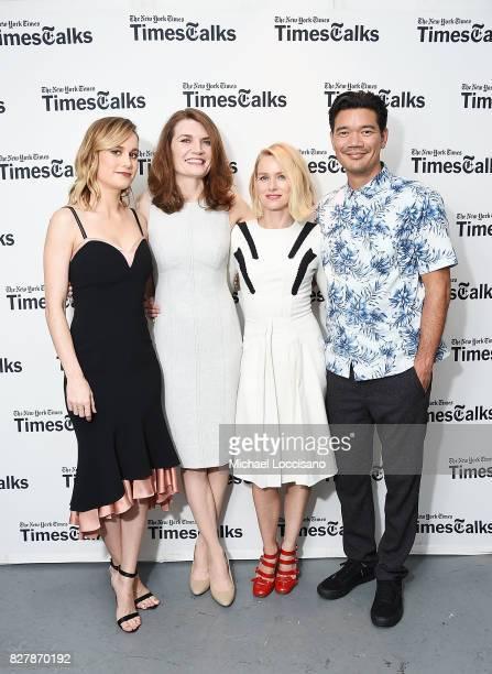 Actress Brie Larson writer Jeannette Walls actress Naomi Watts and director Destin Daniel Cretton pose before the TimesTalks Series presentation of...