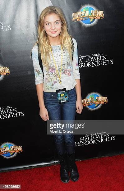 Actress Brighton Sharbino arrives for Universal Studios Hollywood Halloween Horror Nights Kick Off With The Annual Eyegore Awards held at Universal...