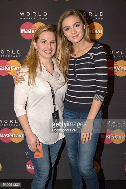 Actress Brighton Sharbino poses with TJX Rewards Platinum MasterCard Card holders at the MasterCard Lounge at Westwood One Backstage on February 13...