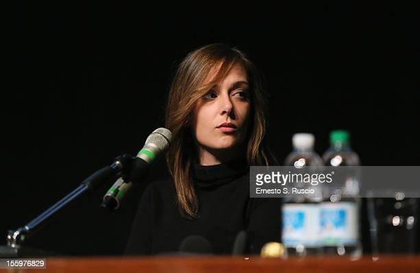 Actress Brigitte Apruzzesi attends the Ali Ha Gli Occhi Azzurri Press Conference during the 7th Rome Film Festival at the Auditorium Parco Della...