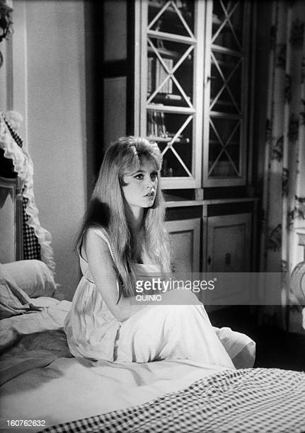 Actress Brigitte Bardot on the set of movie 'Une Parisienne' directed by Michel Boisrond 1957 in France