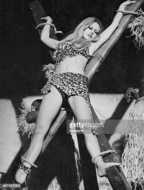 Actress Brigitte Bardot wearing a leopard print costume in a scene from the movie 'Rum Boulevard' or 'Rum Runners' Almeria Spain December 7th 1970