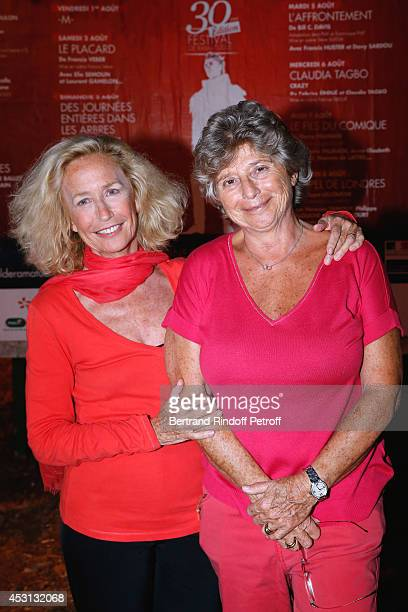 Actress Brigitte Fossey and President of Ramatuelle Festival Jacqueline Franjou attend the 30th Ramatuelle Festival Day 3 on August 3 2014 in...