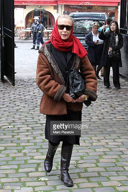 Actress Brigitte Fossey arrives to attend director Claude Pinoteau's funeral on October 11 2012 in Paris France