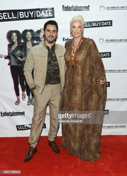 Actress Brigitte Nielsen and Mattia Dessi arrive at the opening night of Sell/Buy/Date at the Los Angeles LGBT Center on October 14 2018 in Los...