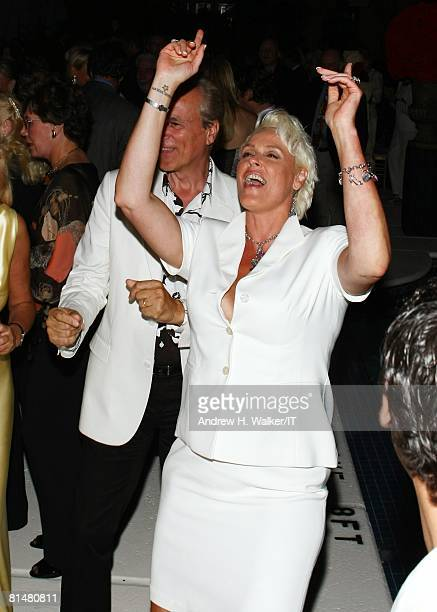 Actress Brigitte Nielsen dances during the Drinks Dinner and Disco Party the night before the wedding of Ivana Trump and Rossano Rubicondi at the...