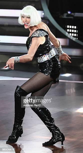 Actress Brigitte Nielsen performs during the 'Let's Dance' TV show at Studios Adlershof on April 16 2010 in Berlin Germany