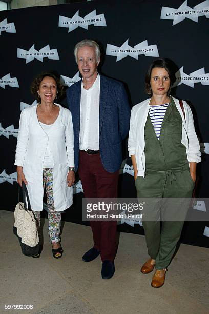 Actress Brigitte Rouan director Philippe Le Guay and actress Sandrine Dumas attend the Nocturama Paris Premiere at Cinematheque Francaise on August...
