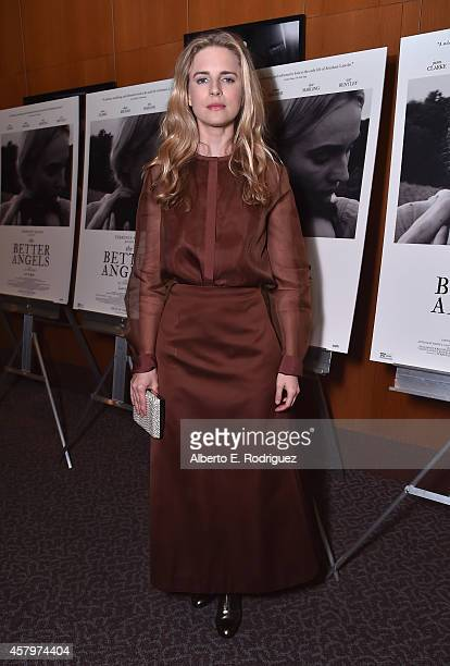Actress Brit Marling attends the premiere of Amplify's The Better Angels at DGA Theater on October 27 2014 in Los Angeles California