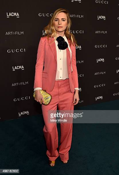 Actress Brit Marling wearing Gucci attends LACMA 2015 ArtFilm Gala Honoring James Turrell and Alejandro G Iñárritu Presented by Gucci at LACMA on...