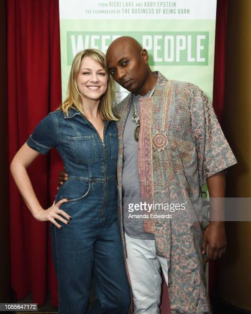 Actress Brit Morgan and Shaman Durek attend the Los Angeles Premiere Screening of Weed The People at Laemmle's Ahrya Fine Arts Theatre on October 30...