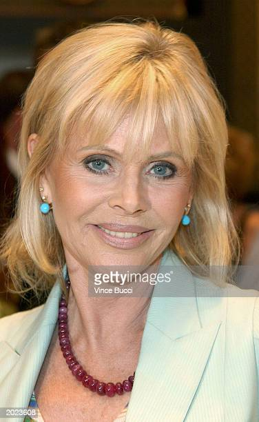Actress Britt Ekland attends a cocktail reception at the Louis Vuitton store on Rodeo Drive in Beverly Hills, California on May 22, 2003 to kick-off...