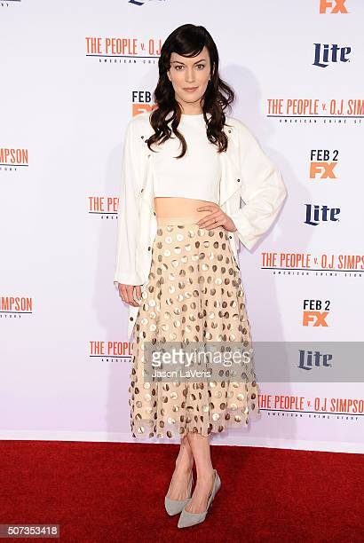 Actress Britt Lower attends the premiere of 'American Crime Story The People V OJ Simpson' at Westwood Village Theatre on January 27 2016 in Westwood...