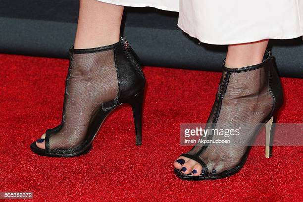 Actress Britt Lower shoe detail attends the FX TCA Winter Press Tour Panel at Langham Hotel on January 16 2016 in Pasadena California
